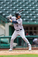 Kane County Cougars Zachery Almond (9) at bat during a Midwest League game against the Fort Wayne TinCaps at Parkview Field on April 30, 2019 in Fort Wayne, Indiana. Kane County defeated Fort Wayne 7-4. (Zachary Lucy/Four Seam Images)