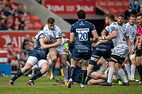 17th April 2021; AJ Bell Stadium, Salford, Lancashire, England; English Premiership Rugby, Sale Sharks versus Gloucester; Mark Atkinson of Gloucester Rugby is tackled