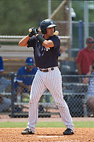 FCL Yankees Juan Crisp (30) bats during a game against the FCL Blue Jays on June 29, 2021 at the Yankees Minor League Complex in Tampa, Florida.  (Mike Janes/Four Seam Images)