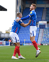 Tom Naylor of Portsmouth right celebrates the first goal with Lee Brown of Portsmouth during Portsmouth vs MK Dons, Sky Bet EFL League 1 Football at Fratton Park on 10th October 2020