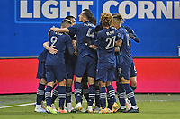 KANSAS CITY, KS - OCTOBER 24: Sporting KC players celebrate a goal during a game between  at Children's Mercy Park on October 24, 2020 in Kansas City, Kansas.