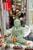 Myanmar, Burma, Yangon.  Buddha Statue Carved from Jade.