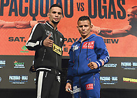 LAS VEGAS, NV - AUG 19:  Oscar Escandon and Carlos Castro at the undercard press conference at the MGM Grand Garden Arena on August 19, 2021 for the upcoming Fox Sports PBC pay-per-view fight in Las Vegas, Nevada. Pacquaio vs Ugas pay-per-view will be on August 21 at T-Mobile Arena in Las Vegas. (Photo by Scott Kirkland/Fox Sports/PictureGroup)