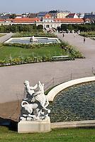 Blick über französischen Garten und unteres Belvedere auf Wien, Wien, Österreich, UNESCO-Weltkulturerbe<br /> French garden and lower Belveder in Baroque summer residence Belvedere, Vienna, Austria, world heritage