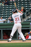 Outfielder Nick Longhi (21) of the Greenville Drive bats in a game against the Lexington Legends on Tuesday, April 14, 2015, at Fluor Field at the West End in Greenville, South Carolina. Lexington won, 5-3. (Tom Priddy/Four Seam Images)