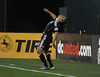 DC United forward Charlie Davis (9) celebrates his score from a penalty kick in the 90th minute of the game.  DC United tied Los Angeles Galaxy 1-1, at RFK Stadium, Saturday April 9, 2011.