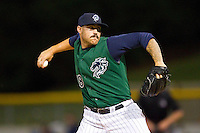 Charlotte Knights pitcher Brandon Kloess (18) in action against the Syracuse Chiefs at Knights Stadium on August 29, 2012 in Fort Mill, South Carolina.  (Brian Westerholt/Four Seam Images)