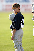 July 9th 2007:  Pitching Coach Jeff Ware's son during the national anthem while with the Staten Island Yankees, Class-A affiliate of the New York Yankees, at Dwyer Stadium in Batavia, NY.  Photo by:  Mike Janes/Four Seam Images