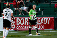 Ashlyn Harris (24) of the Western New York Flash, right, smiles at Ella Masar (55) of the magicJack after saving her shot. The Western New York Flash defeated the magicJack 3-0 in Women's Professional Soccer (WPS) at Sahlen's Stadium in Rochester, NY May 22, 2011.