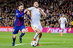 Lionel Andres Messi of FC Barcelona (L) fights for the ball with Kostas Manolas of AS Roma (R) during the UEFA Champions League 2017-18 quarter-finals (1st leg) match between FC Barcelona and AS Roma at Camp Nou on 05 April 2018 in Barcelona, Spain. Photo by Vicens Gimenez / Power Sport Images