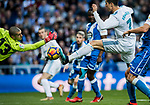 Cristiano Ronaldo of Real Madrid shoots to score during the La Liga 2017-18 match between Real Madrid and RC Deportivo La Coruna at Santiago Bernabeu Stadium on January 21 2018 in Madrid, Spain. Photo by Diego Gonzalez / Power Sport Images