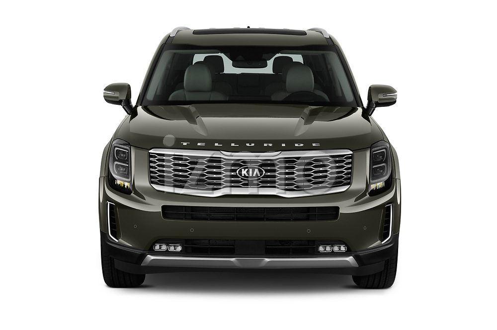 Car photography straight front view of a 2020 KIA Telluride SX 5 Door SUV