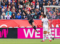 CARSON, CA - FEBRUARY 9: Alyssa Naeher #1 of the United States makes a save during a game between Canada and USWNT at Dignity Health Sports Park on February 9, 2020 in Carson, California.