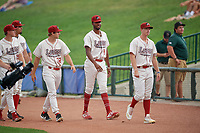 Great Lakes Loons pitchers Justin Hagenman (32) and Mark Washington (43) before a Midwest League game against the Clinton LumberKings on July 19, 2019 at Dow Diamond in Midland, Michigan.  Clinton defeated Great Lakes 3-2.  (Mike Janes/Four Seam Images)