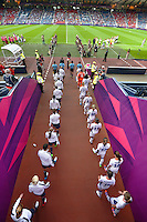 Glasgow, Scotland - July 25, 2012: USA and France Women's Olympic Soccer Teams enter Hampden Stadium in Glasgow, Scotland during the London Olympics.