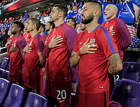 Orlando, FL - Friday Oct. 06, 2017: Kellyn Acosta, Alejandro Bedoya, Geoff Cameron, Clint Dempsey during a 2018 FIFA World Cup Qualifier between the men's national teams of the United States (USA) and Panama (PAN) at Orlando City Stadium.
