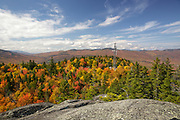 Scenic view from Chapel Rock on Pine Mountain in Gorham, New Hampshire USA during the autumn months
