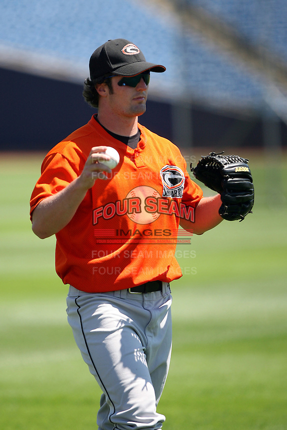June 11th 2008:  Pitcher Sean Gleason of the Delmarva Shorebirds, Class-A affiliate of the Baltimore Orioles, during a game at Classic Park in Eastlake, OH.  Photo by:  Mike Janes/Four Seam Images