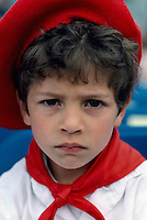 Portrait of Young Basque Boy wearing Traditional Costume at Ethnic Festival, BC, British Columbia, Canada (No Model Release Available)
