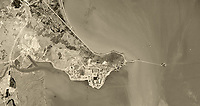 historical aerial photograph San Quentin State Prison, Marin County, California, 1948