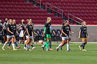 SANDY, UT - SEPTEMBER 26: OL Reign and Utah Royals FC walk onto the pitch before a game between OL Reign and Utah Royals FC at Rio Tinto Stadium on September 26, 2020 in Sandy, Utah.