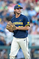 Michigan Wolverines pitcher Karl Kauffmann (37) in action against the Vanderbilt Commodores during Game 3 of the NCAA College World Series Finals on June 26, 2019 at TD Ameritrade Park in Omaha, Nebraska. Vanderbilt defeated Michigan 8-2 to win the National Championship. (Andrew Woolley/Four Seam Images)