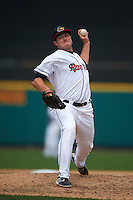 Rochester Red Wings pitcher Ryan O'Rourke (49) delivers a pitch during a game against the Pawtucket Red Sox on July 1, 2015 at Frontier Field in Rochester, New York.  Rochester defeated Pawtucket 8-4.  (Mike Janes/Four Seam Images)