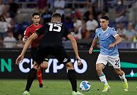 28th August 2021; Olympic Stadium, Rome, Italy; Serie A football, SS Lazio versus AC Spezia : Raul Moro of Lazio takes on Petko Hri of Speziastov