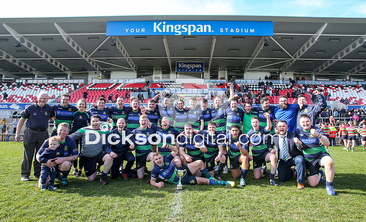 Saturday 6th April 2019 | 2019 Gordon West Final<br /> <br /> Monaghan captain Jason McGuirk and his team celebrate winning the Gordon West Cup Monaghan at Kingspan Stadium, Ravenhill Park, Belfast, Northern Ireland. Photo by John Dickson / DICKSONDIGITAL
