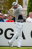 21.05.2015. Wentworth, England. BMW PGA Golf Championship. Round 1.  Jamie Donaldson [ENG] on the first tee.  The first round of the 2015 BMW PGA Championship from The West Course Wentworth Golf Club