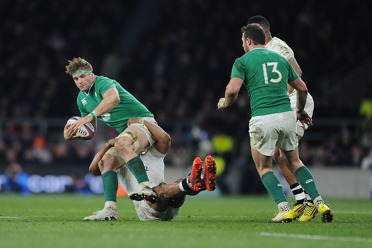 Jamie Heaslip, FEBRUARY 27, 2016 - Rugby : Jamie Heaslip of Ireland is brought down by Jonathan Joseph of England during the RBS 6 Nations match between England and Ireland at Twickenham Stadium, London, United Kingdom. (Photo by Rob Munro)