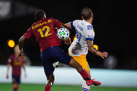 LAKE BUENA VISTA, FL - JULY 27: Douglas Martinez #12 of Real Salt Lake and Guram Kashia #37 of the San Jose Earthquakes battle for the ball during a game between San Jose Earthquakes and Real Salt Lake at ESPN Wide World of Sports on July 27, 2020 in Lake Buena Vista, Florida.