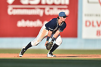 Asheville Tourists shortstop Brendan Rodgers (1) fields the ball and starts the turn on a double play during a game against the Charleston RiverDogs at McCormick Field on July 9, 2016 in Asheville, North Carolina. The RiverDogs defeated the Tourists 10-9. (Tony Farlow/Four Seam Images)