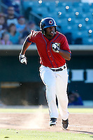 Chris Epps #7 of the Lancaster JetHawks runs to first base during a game against the Rancho Cucamonga Quakes at The Hanger on August 25, 2013 in Lancaster, California. Lancaster defeated Rancho Cucamonga, 7-1. (Larry Goren/Four Seam Images)