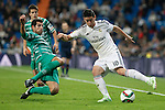 Real Madrid´s James Rodriguez (R) and Cornella´s Pere during Spanish King Cup match between Real Madrid and Cornella at Santiago Bernabeu stadium in Madrid, Spain. May 26, 2013. (ALTERPHOTOS/Victor Blanco)