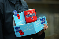 Pictured: A poppy appeal fundraising box. Saturday 11 November 2017<br />