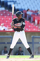 Gabriel Guerrero #22 of the High Desert Mavericks bats against the Rancho Cucamonga Quakes at Stater Bros. Stadium on May 27, 2014 in Adelanto, California. High Desert defeated Rancho Cucamonga, 5-4. (Larry Goren/Four Seam Images)