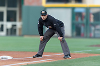 Umpire Alex Mackay during a Pacific Coast League game between the El Paso Chihuahuas and Albuquerque Isotopes at Southwest University Park on May 10, 2019 in El Paso, Texas. Albuquerque defeated El Paso 2-1. (Zachary Lucy/Four Seam Images)