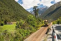 Coal train coming from Arthur's Pass, Arthur's Pass National Park, West Coast, New Zealand