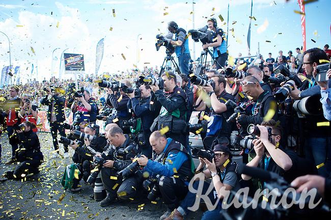 press photographers to the party<br /> <br /> 100th Ronde van Vlaanderen 2016