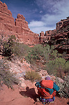 Backpack, Grand Gulch Primitive Area, Southeastern Utah, America's Southwest, red rock country, USA,.