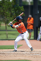 GCL Astros second baseman Ronaldo Urdaneta (3) at bat during a game against the GCL Marlins on August 5, 2018 at FITTEAM Ballpark of the Palm Beaches in West Palm Beach, Florida.  GCL Astros defeated GCL Marlins 2-1.  (Mike Janes/Four Seam Images)