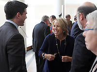Feb. 26, 2011- Charlottesville, Virginia (USA)- CBS Evening News anchor Katie Couric, right, greets her nephew Dr. Ray Wadlow, left, the son of Emily Couric, during the opening of the Emily Couric Clinic Cancer Center at the University of Virginia Health System in Charlottesville, Va. The building is named after Emily Couric who died of pancreatic cancer in 2001. Credit Image: © Andrew Shurtleff