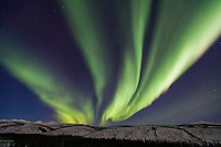 Green aurora swirls over the White Mountains in the White Mountains National Recreation Area, Interior, Alaska.