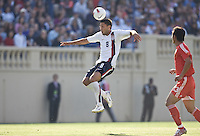 Clint Dempsey leaps for a header. The USA defeated China, 4-1, in an international friendly at Spartan Stadium, San Jose, CA on June 2, 2007.