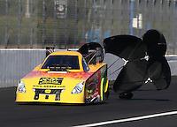 Nov 9, 2013; Pomona, CA, USA; NHRA funny car driver Bob Bode during qualifying for the Auto Club Finals at Auto Club Raceway at Pomona. Mandatory Credit: Mark J. Rebilas-