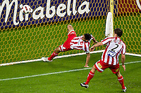 MELBOURNE, AUSTRALIA - NOVEMBER 27: Simon Colosimo of the Heart clears the ball from goal during the round 16 A-League match between the Melbourne Heart and Sydney FC at AAMI Park on November 27, 2010 in Melbourne, Australia. (Photo by Sydney Low / Asterisk Images)