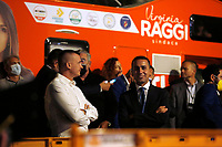 The former premier's spokesman Rocco Casalino and the minister of foreign affairs Luigi Di Maio during the closing of the election campaign for the new mayor of the city.<br /> Rome (Italy), October 1st 2021<br /> Photo Samantha Zucchi Insidefoto