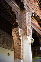 Mocarabe Berber arabesque plasterwork capitals.The Petite Court, Bahia Palace, Marrakesh, Morroco