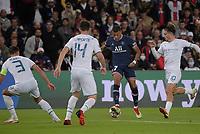 28th September 2021, Parc des Princes, Paris, France: Champions league football, Paris-Saint-Germain versus Manchester City:  Kylian Mbappe ( 7 - PSG ) takes on Aymeric Laporte ( 14 - Manchester City )